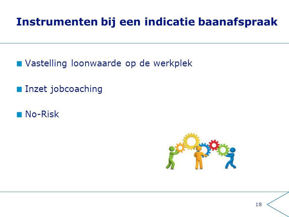 Instrumenten bij een indicatie baanafspraak Vastelling loonwaarde op de werkplek Inzet jobcoaching No-Risk 18