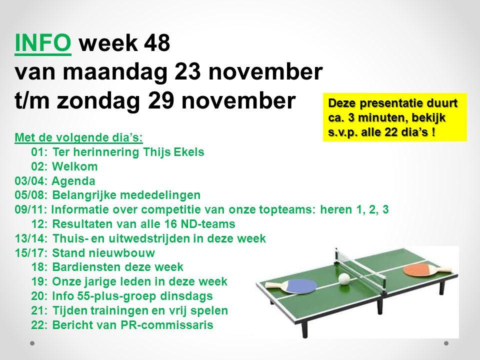 INFO week 48 van maandag 23 november t/m zondag 29 november Met de volgende dia's: 01: Ter herinnering Thijs Ekels 02: Welkom 03/04: Agenda 05/08: Bel