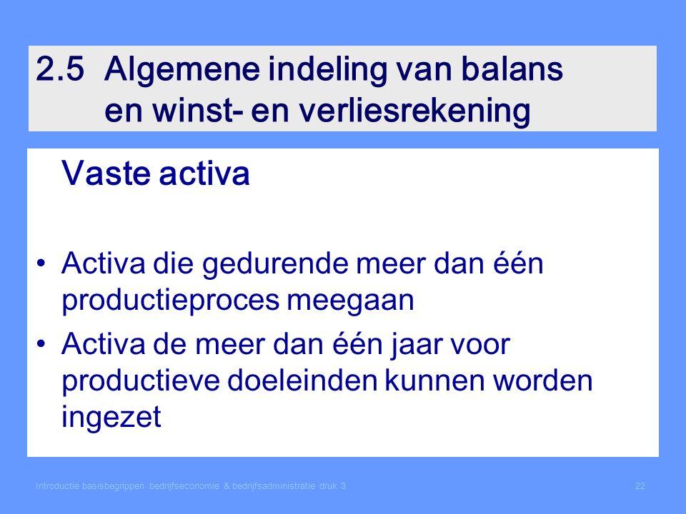 2.5Algemene indeling van balans en winst- en verliesrekening Vaste activa Activa die gedurende meer dan één productieproces meegaan Activa de meer dan één jaar voor productieve doeleinden kunnen worden ingezet Introductie basisbegrippen bedrijfseconomie & bedrijfsadministratie druk 322