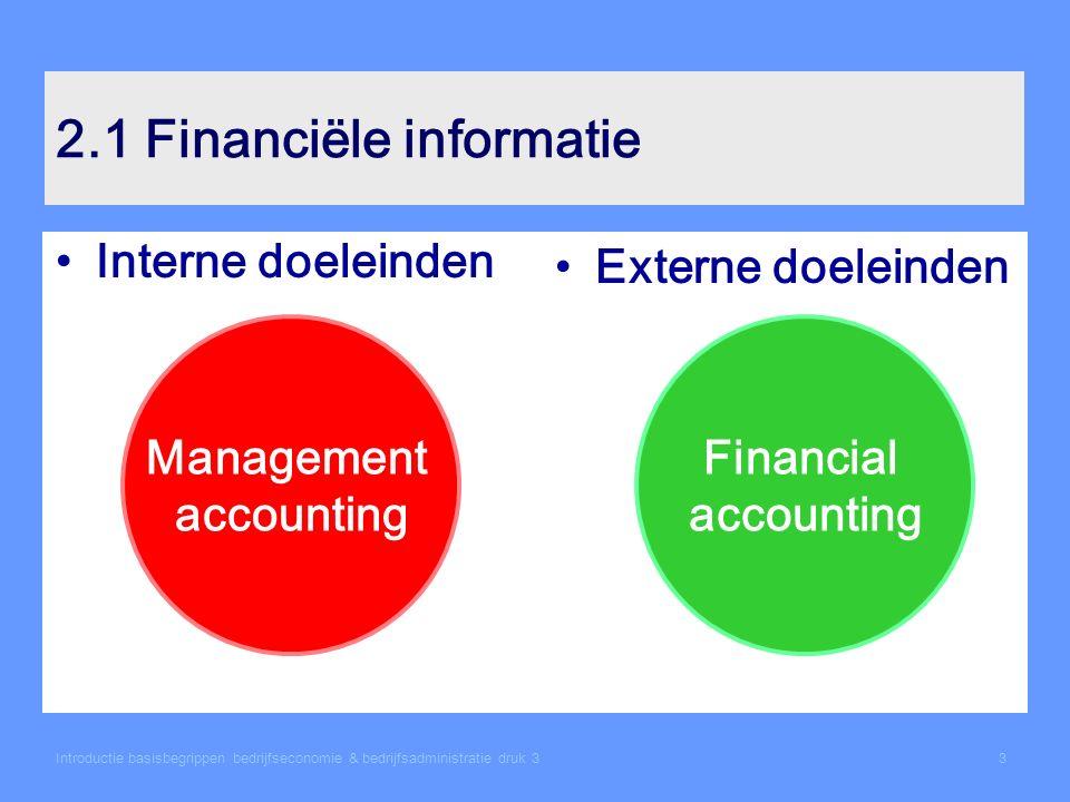 Introductie basisbegrippen bedrijfseconomie & bedrijfsadministratie druk 33 2.1 Financiële informatie Interne doeleinden Externe doeleinden Management accounting Financial accounting