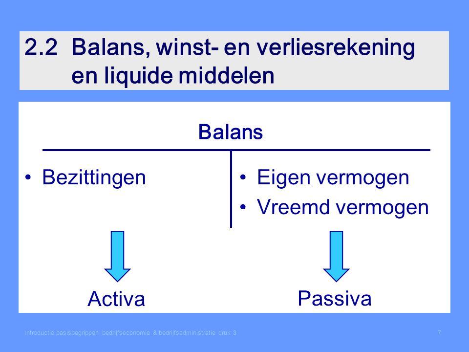 Introductie basisbegrippen bedrijfseconomie & bedrijfsadministratie druk 37 2.2Balans, winst- en verliesrekening en liquide middelen BezittingenEigen vermogen Vreemd vermogen Balans Activa Passiva
