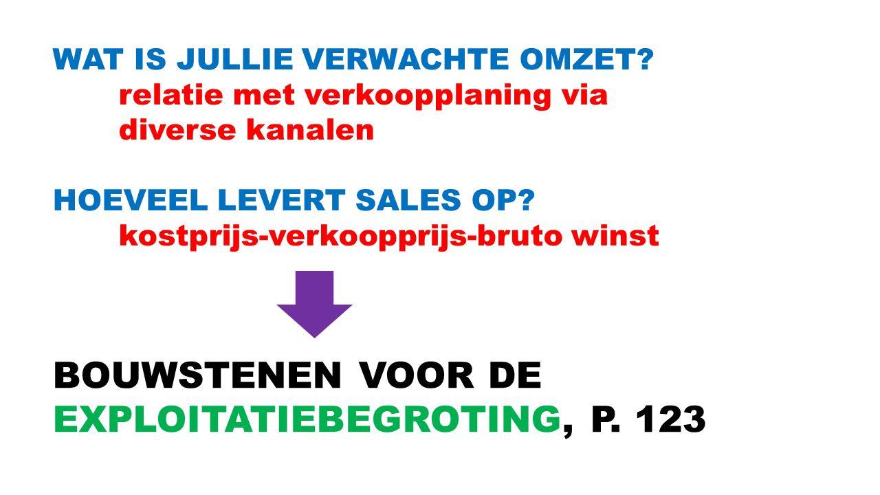 WAT IS JULLIE VERWACHTE OMZET? relatie met verkoopplaning via diverse kanalen HOEVEEL LEVERT SALES OP? kostprijs-verkoopprijs-bruto winst BOUWSTENEN V