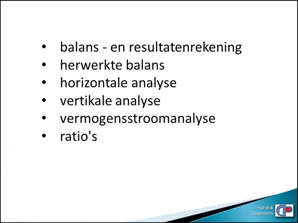 balans - en resultatenrekening herwerkte balans horizontale analyse vertikale analyse vermogensstroomanalyse ratio's