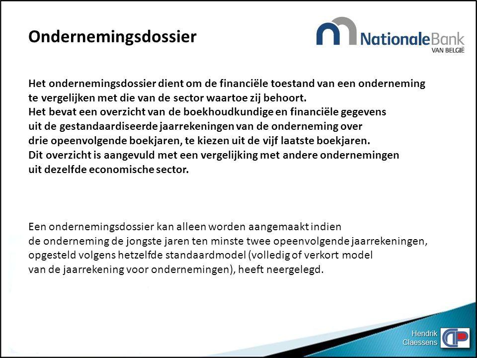Ondernemingsdossier Het ondernemingsdossier dient om de financiële toestand van een onderneming te vergelijken met die van de sector waartoe zij behoort.