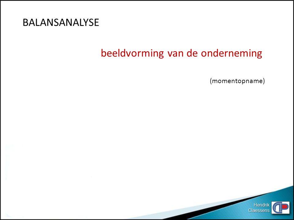 BALANSANALYSE beeldvorming van de onderneming (momentopname)