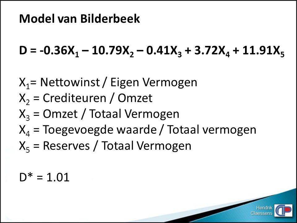 Model van Bilderbeek D = -0.36X 1 – 10.79X 2 – 0.41X 3 + 3.72X 4 + 11.91X 5 X 1 = Nettowinst / Eigen Vermogen X 2 = Crediteuren / Omzet X 3 = Omzet / Totaal Vermogen X 4 = Toegevoegde waarde / Totaal vermogen X 5 = Reserves / Totaal Vermogen D* = 1.01