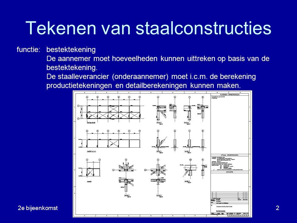 2e bijeenkomstribBHS2 Tekenen van staalconstructies functie:bestektekening De aannemer moet hoeveelheden kunnen uittreken op basis van de bestektekeni