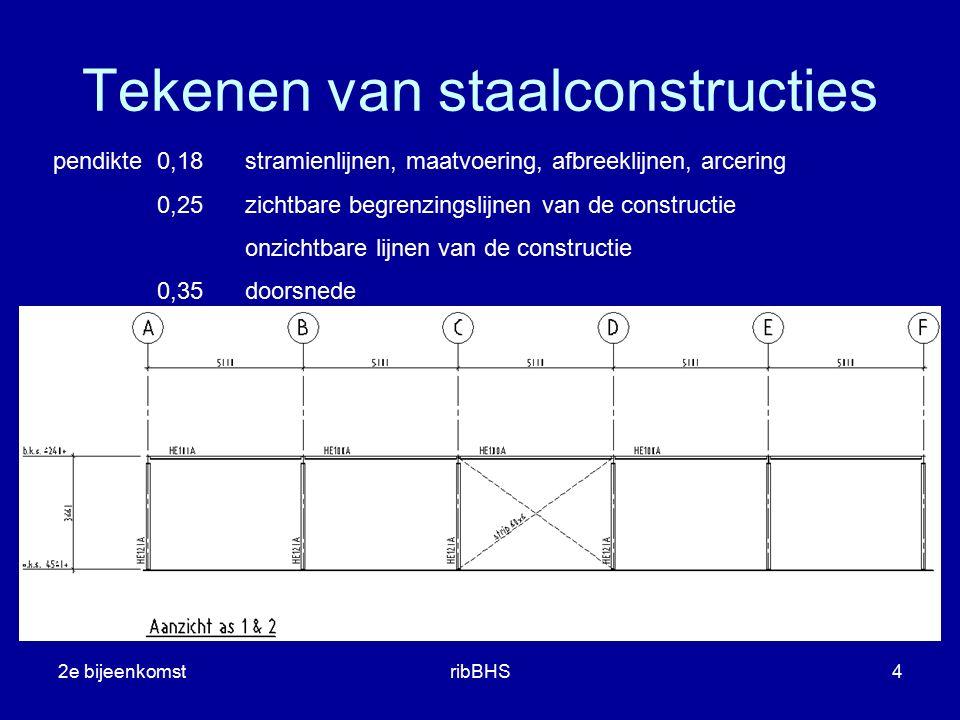 2e bijeenkomstribBHS4 pendikte0,18stramienlijnen, maatvoering, afbreeklijnen, arcering 0,25zichtbare begrenzingslijnen van de constructie onzichtbare