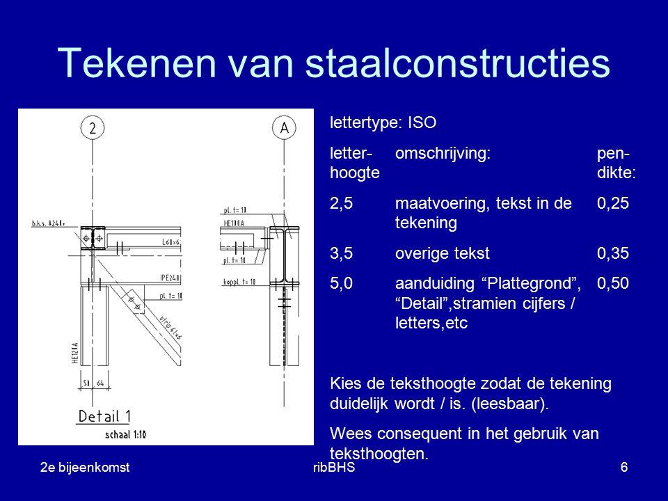 2e bijeenkomstribBHS6 lettertype: ISO letter-omschrijving:pen- hoogtedikte: 2,5maatvoering, tekst in de0,25 tekening 3,5overige tekst0,35 5,0aanduidin