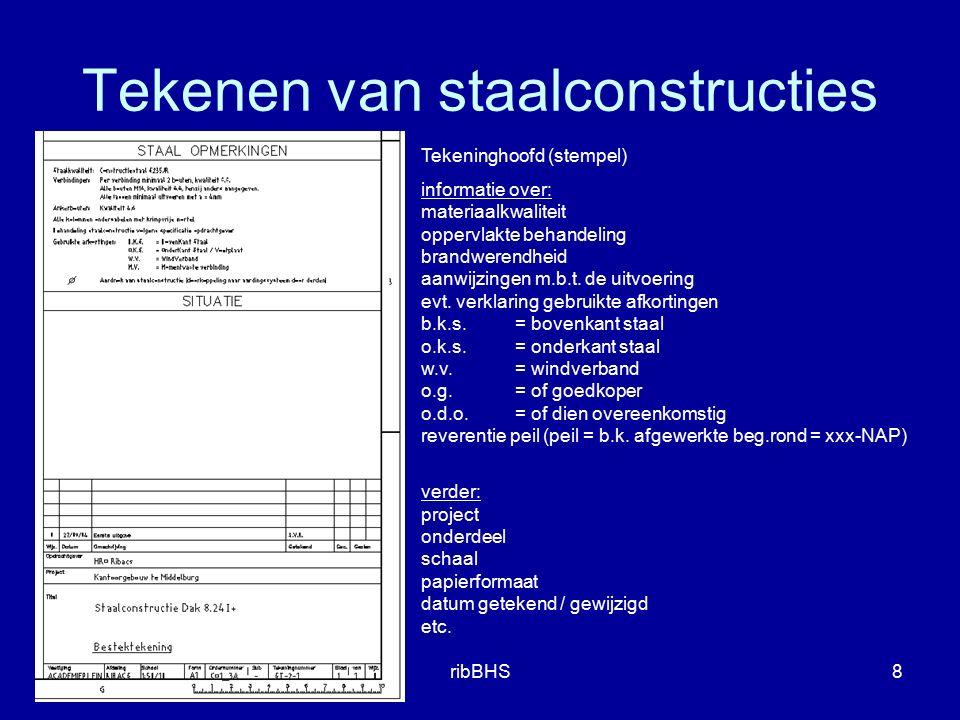 2e bijeenkomstribBHS8 Tekeninghoofd (stempel) informatie over: materiaalkwaliteit oppervlakte behandeling brandwerendheid aanwijzingen m.b.t. de uitvo