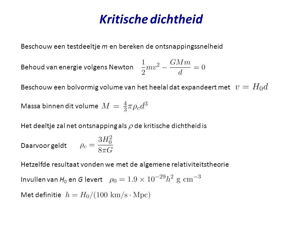 Kritische dichtheid Behoud van energie volgens Newton Beschouw een bolvormig volume van het heelal dat expandeert met Massa binnen dit volume Het deel