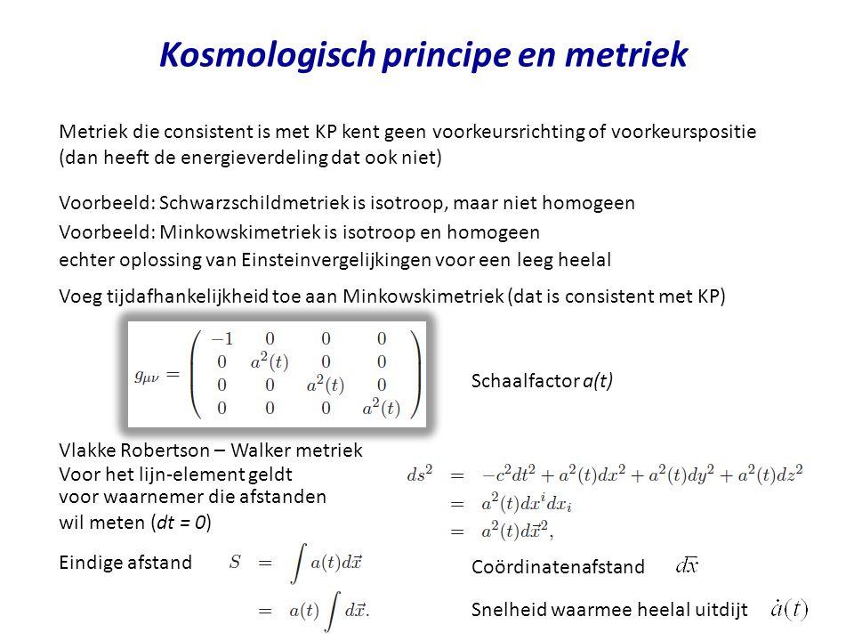 Kosmologisch principe en metriek Metriek die consistent is met KP kent geen voorkeursrichting of voorkeurspositie (dan heeft de energieverdeling dat o