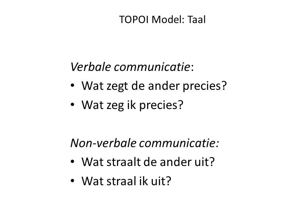 TOPOI Model: Taal Actie:verhelderen: wat bedoel je precies met.., hiermee bedoel ik vooral dat Bespreken non-verbale communicatie: Je kijkt me niet meer aan, is dat omdat je het niet met me eens bent?