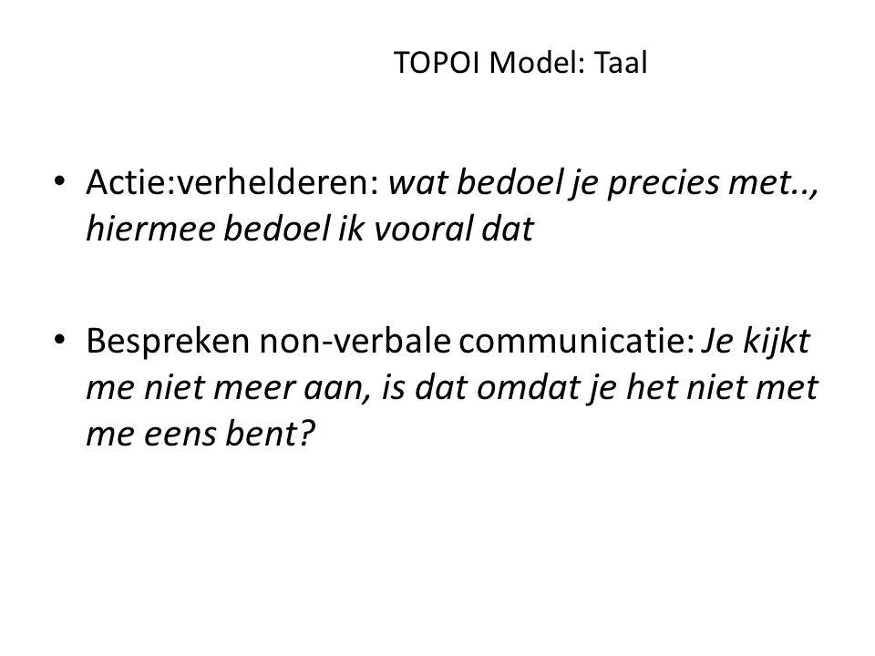 TOPOI Model: Ordening Hoe bekijkt de ander de situatie.