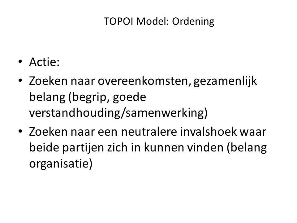 TOPOI Model: Ordening Actie: Zoeken naar overeenkomsten, gezamenlijk belang (begrip, goede verstandhouding/samenwerking) Zoeken naar een neutralere invalshoek waar beide partijen zich in kunnen vinden (belang organisatie)