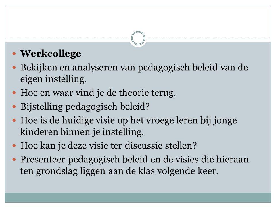 Werkcollege Bekijken en analyseren van pedagogisch beleid van de eigen instelling.