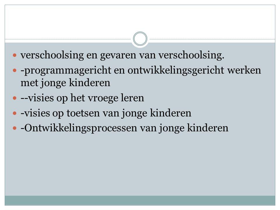 De volgende VVE programma`s worden onderzocht: Piramide, Kaleidoscoop, Sporen, Basisgoed, Ben ik in Beeld.