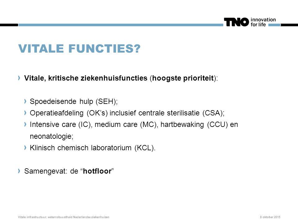 VITALE FUNCTIES? Vitale, kritische ziekenhuisfuncties (hoogste prioriteit): Spoedeisende hulp (SEH); Operatieafdeling (OK's) inclusief centrale steril