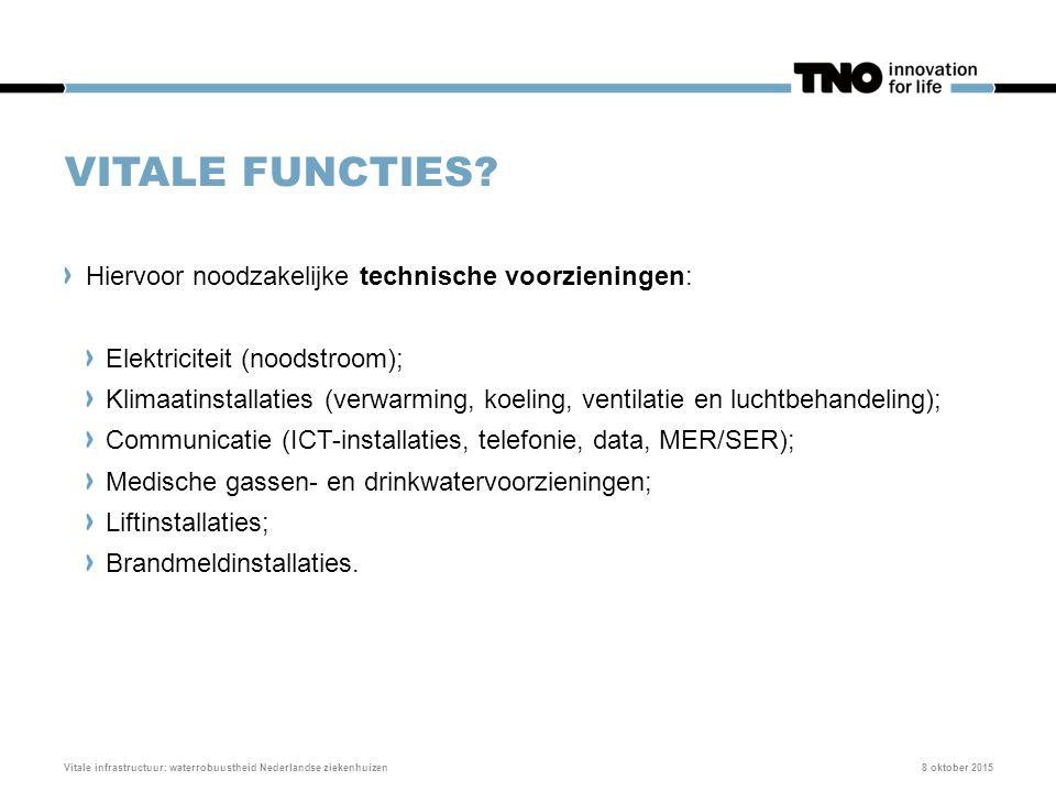 VITALE FUNCTIES? Hiervoor noodzakelijke technische voorzieningen: Elektriciteit (noodstroom); Klimaatinstallaties (verwarming, koeling, ventilatie en