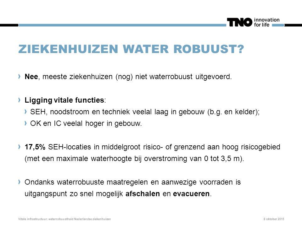 ZIEKENHUIZEN WATER ROBUUST? 8 oktober 2015Vitale infrastructuur: waterrobuustheid Nederlandse ziekenhuizen Nee, meeste ziekenhuizen (nog) niet waterro