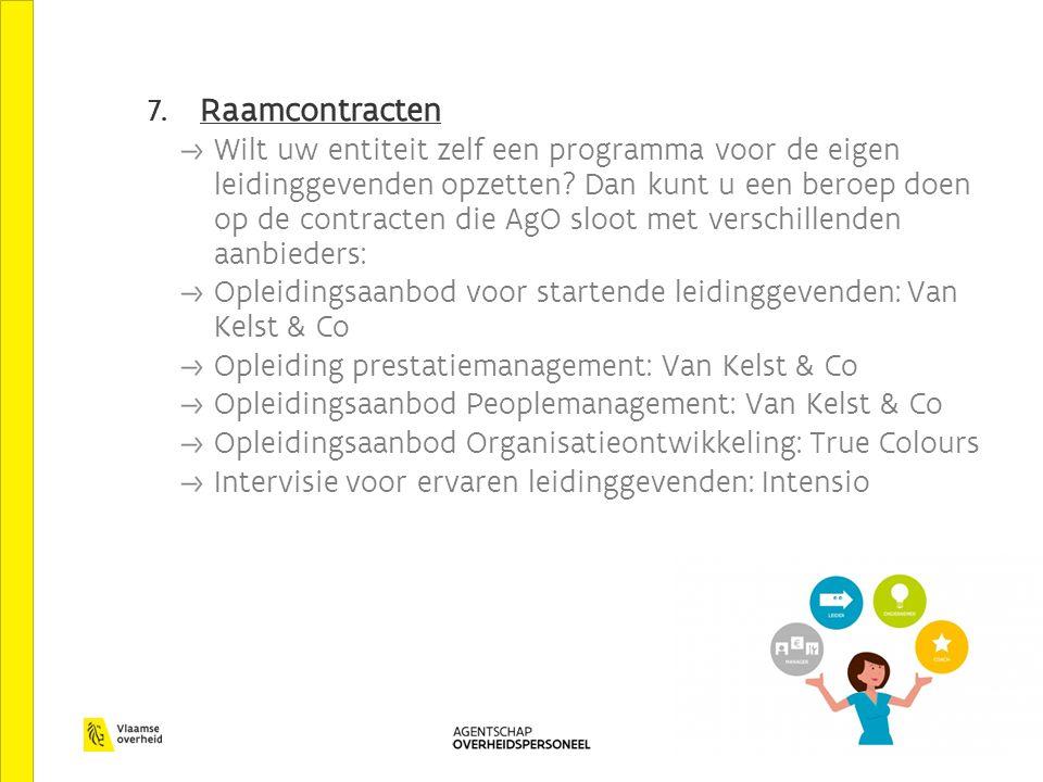 7. Raamcontracten Wilt uw entiteit zelf een programma voor de eigen leidinggevenden opzetten.