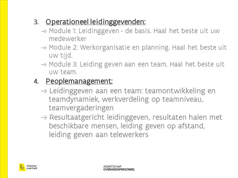 3. Operationeel leidinggevenden: Module 1: Leidinggeven - de basis. Haal het beste uit uw medewerker Module 2: Werkorganisatie en planning. Haal het b