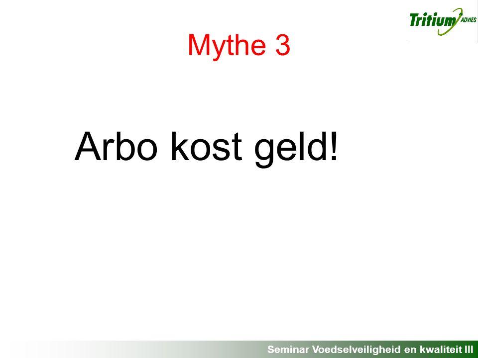 Seminar Voedselveiligheid en kwaliteit III Mythe 3 Arbo kost geld!