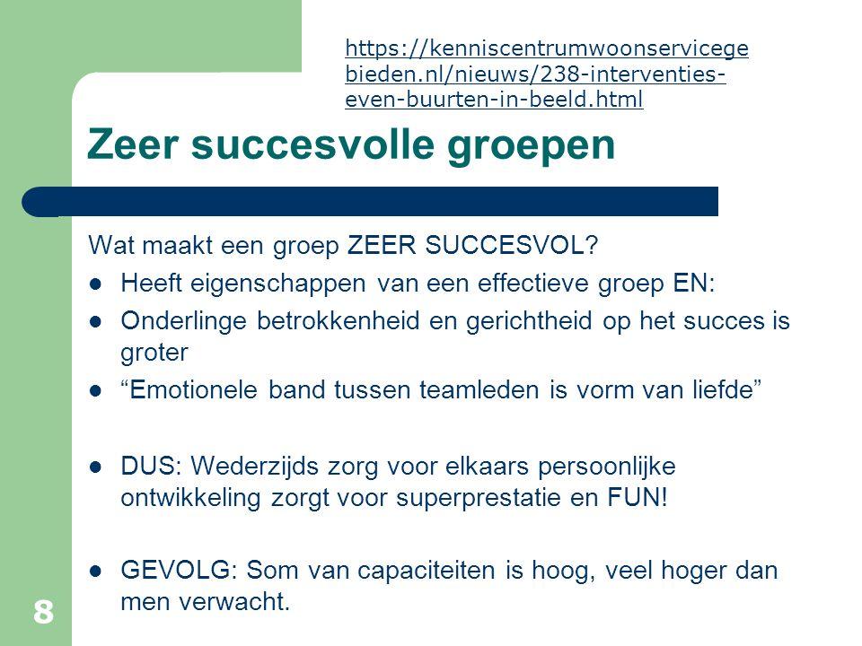 Zeer succesvolle groepen Wat maakt een groep ZEER SUCCESVOL? Heeft eigenschappen van een effectieve groep EN: Onderlinge betrokkenheid en gerichtheid