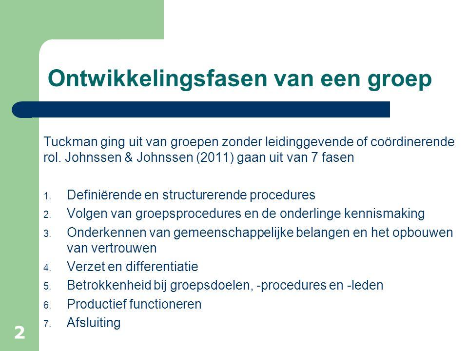Ontwikkelingsfasen van een groep Tuckman ging uit van groepen zonder leidinggevende of coördinerende rol. Johnssen & Johnssen (2011) gaan uit van 7 fa