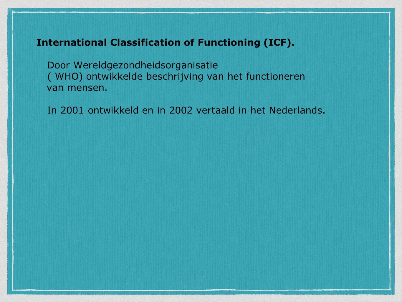 International Classification of Functioning (ICF). Door Wereldgezondheidsorganisatie ( WHO) ontwikkelde beschrijving van het functioneren van mensen.