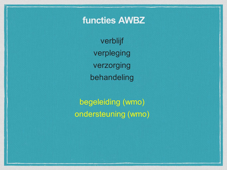 verblijf verpleging verzorging behandeling begeleiding (wmo) ondersteuning (wmo) functies AWBZ