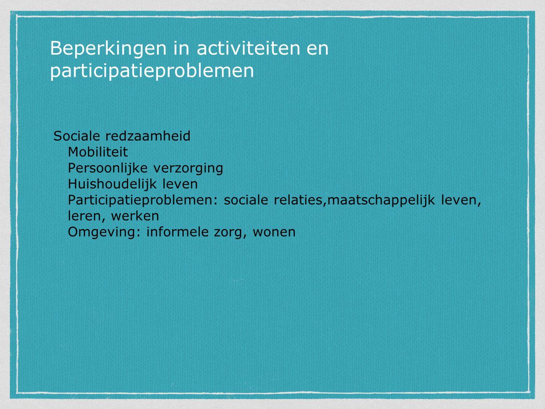 Sociale redzaamheid Mobiliteit Persoonlijke verzorging Huishoudelijk leven Participatieproblemen: sociale relaties,maatschappelijk leven, leren, werken Omgeving: informele zorg, wonen Beperkingen in activiteiten en participatieproblemen