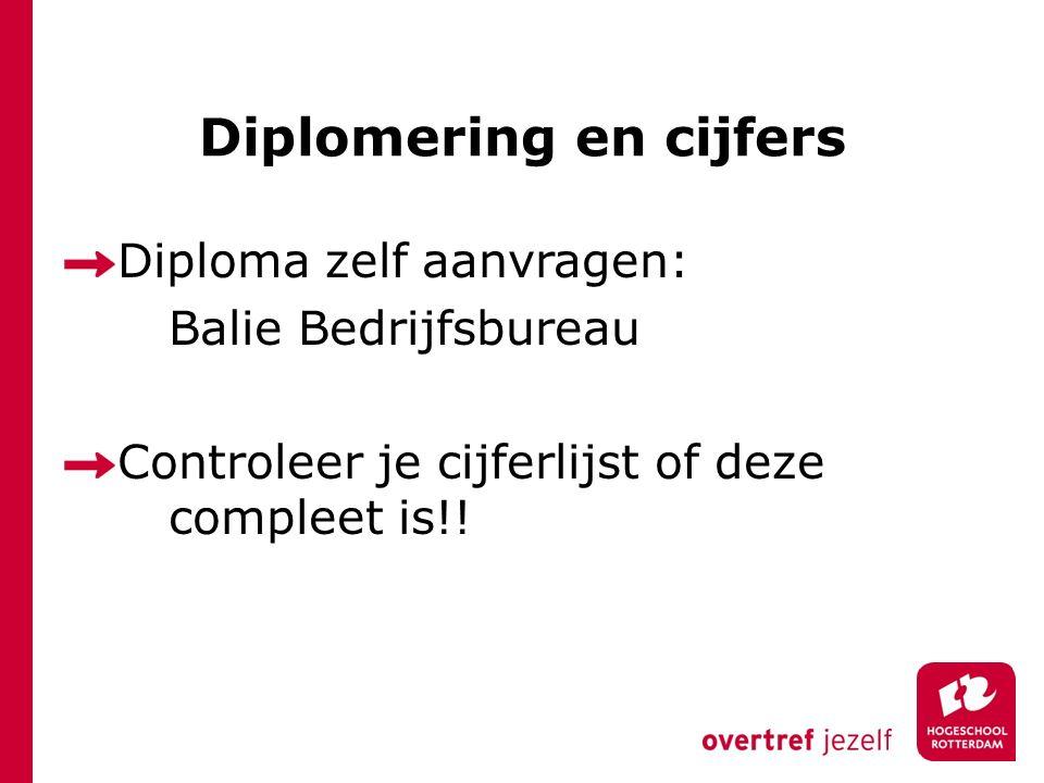 Diplomering en cijfers Diploma zelf aanvragen: Balie Bedrijfsbureau Controleer je cijferlijst of deze compleet is!!