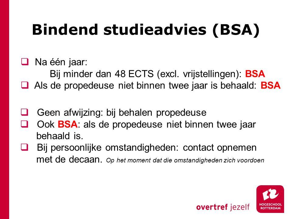 Bindend studieadvies (BSA)  Geen afwijzing: bij behalen propedeuse  Ook BSA: als de propedeuse niet binnen twee jaar behaald is.  Bij persoonlijke