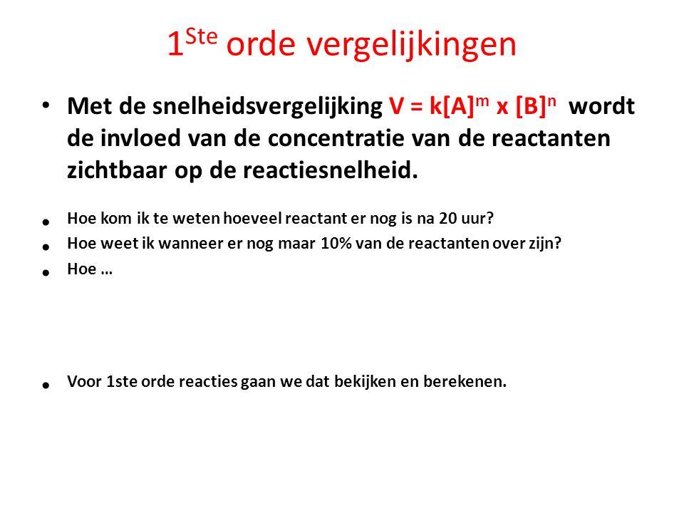 1 Ste orde vergelijkingen Met de snelheidsvergelijking V = k[A] m x [B] n wordt de invloed van de concentratie van de reactanten zichtbaar op de react
