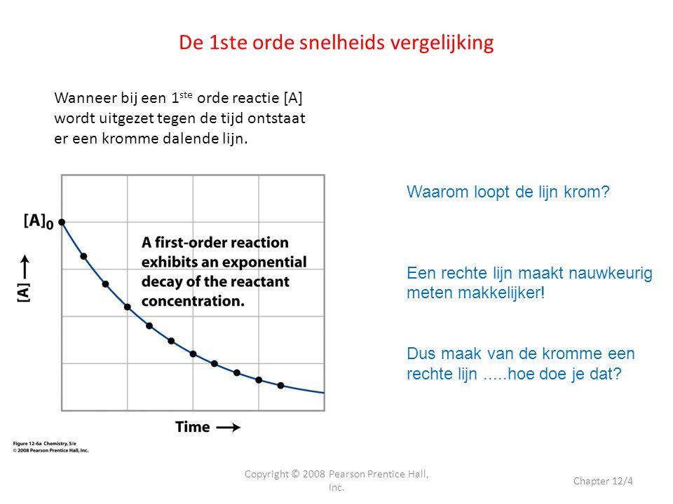 De 1ste orde snelheids vergelijking Copyright © 2008 Pearson Prentice Hall, Inc. Chapter 12/4 Wanneer bij een 1 ste orde reactie [A] wordt uitgezet te