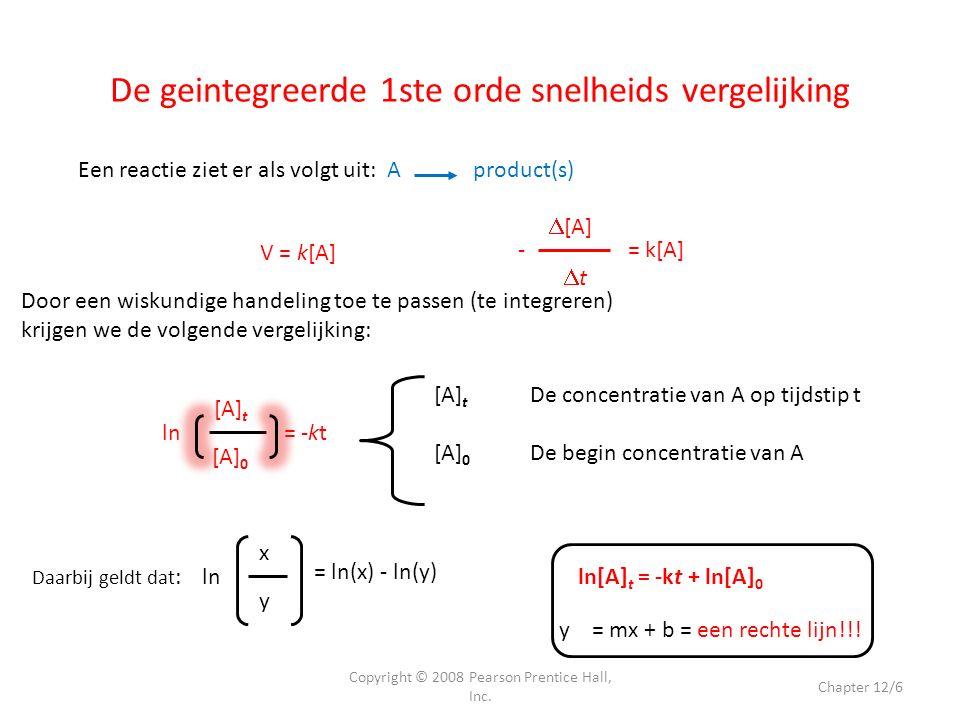 2 H 2 O 2 2 H 2 O + O 2 Dit is een 1 ste orde reactie; k = 1,8 x 10 -5 s-1.