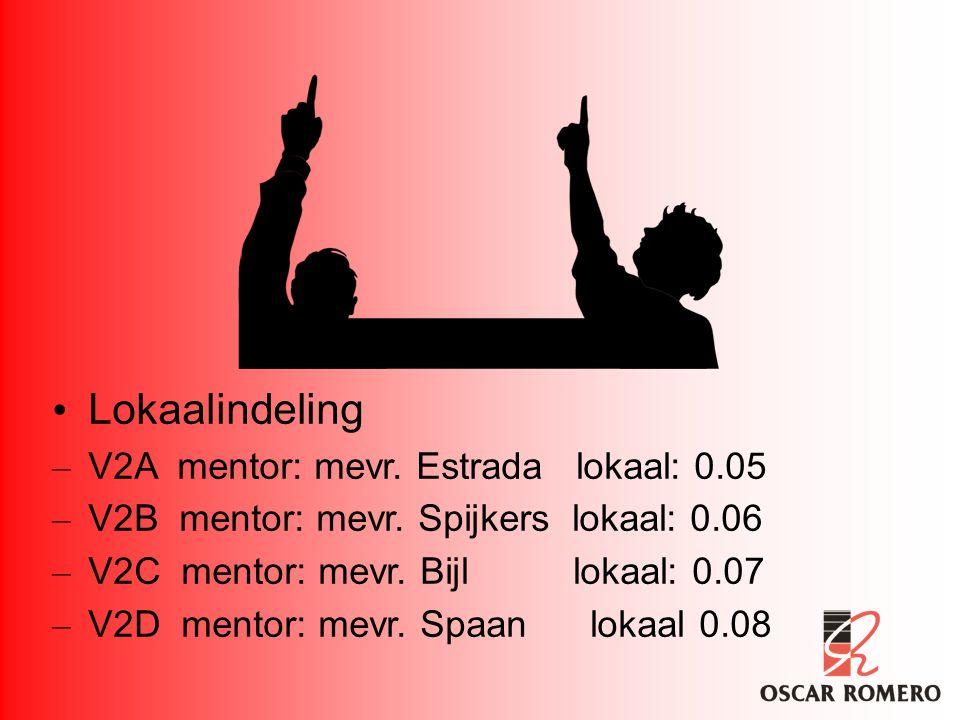 Lokaalindeling – V2A mentor: mevr. Estrada lokaal: 0.05 – V2B mentor: mevr. Spijkers lokaal: 0.06 – V2C mentor: mevr. Bijl lokaal: 0.07 – V2D mentor: