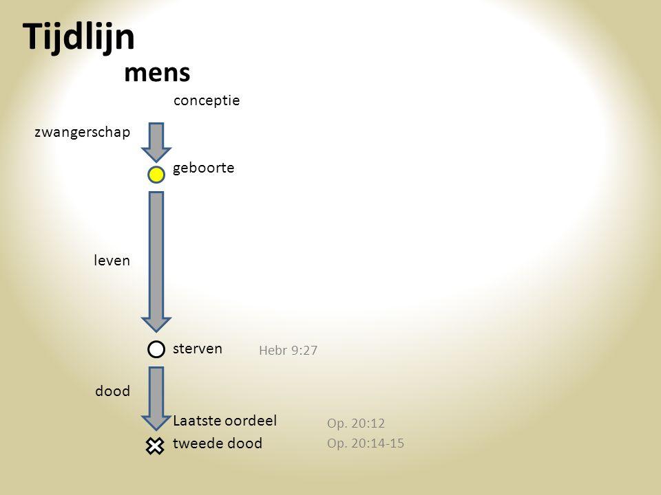 Tijdlijn conceptie zwangerschap geboorte leven sterven dood mens tweede dood Laatste oordeel Hebr 9:27 Op. 20:12 Op. 20:14-15