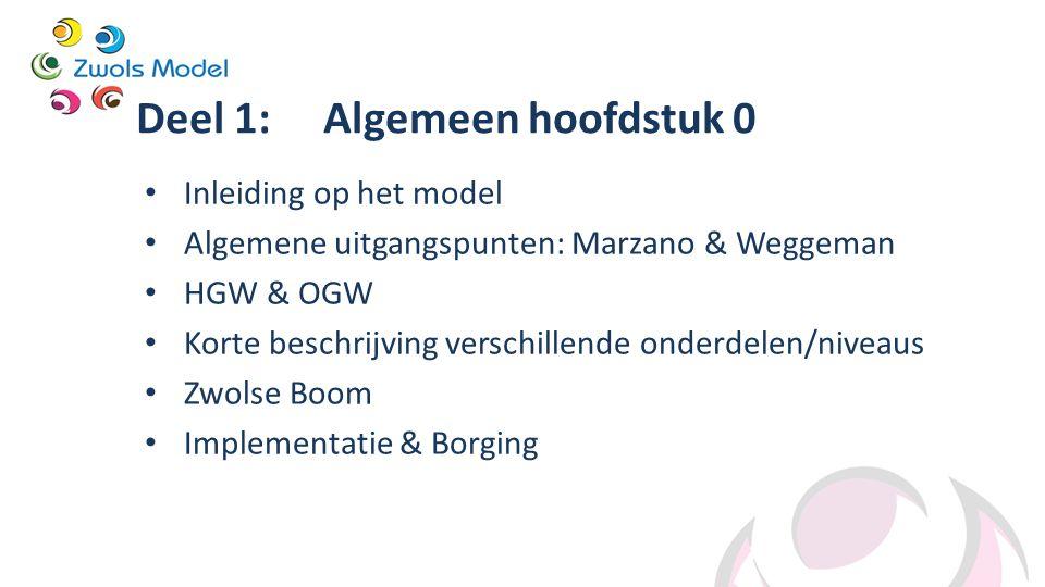Deel 1: Algemeen hoofdstuk 0 Inleiding op het model Algemene uitgangspunten: Marzano & Weggeman HGW & OGW Korte beschrijving verschillende onderdelen/