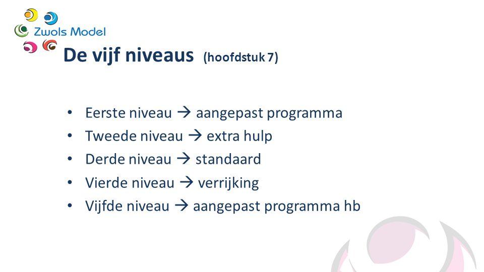 De vijf niveaus (hoofdstuk 7) Eerste niveau  aangepast programma Tweede niveau  extra hulp Derde niveau  standaard Vierde niveau  verrijking Vijfd