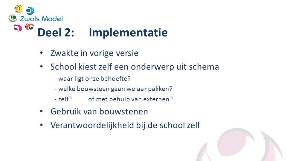Deel 2: Implementatie Zwakte in vorige versie School kiest zelf een onderwerp uit schema - waar ligt onze behoefte? - welke bouwsteen gaan we aanpakke