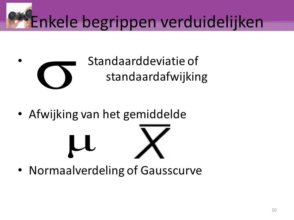 Enkele begrippen verduidelijken Standaarddeviatie of standaardafwijking Afwijking van het gemiddelde Normaalverdeling of Gausscurve 10