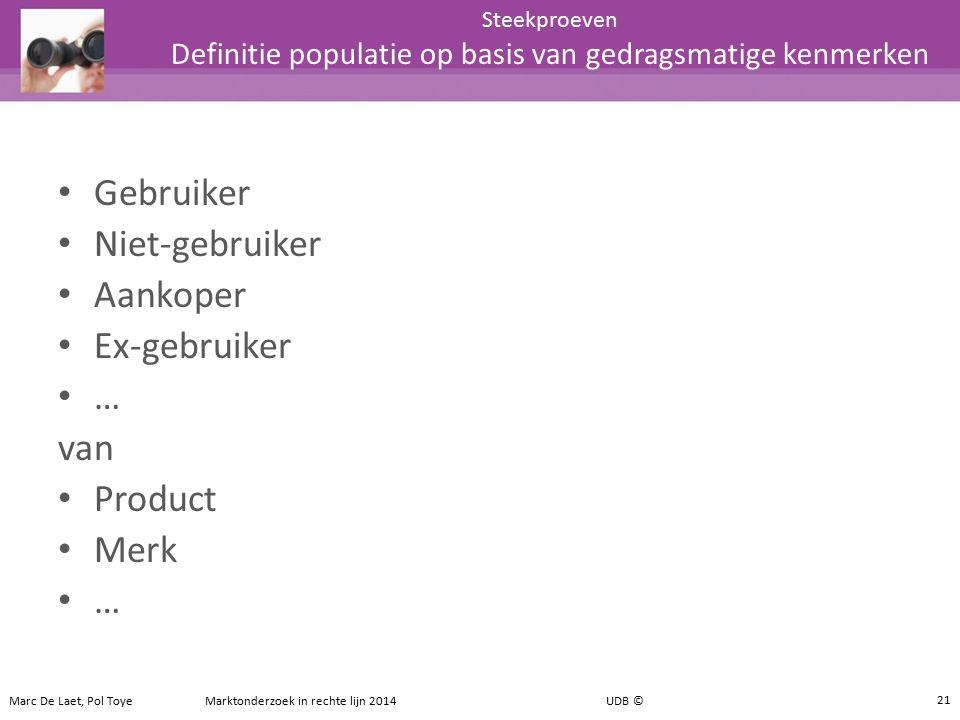 Gebruiker Niet-gebruiker Aankoper Ex-gebruiker … van Product Merk … Steekproeven Definitie populatie op basis van gedragsmatige kenmerken 21 Marc De L