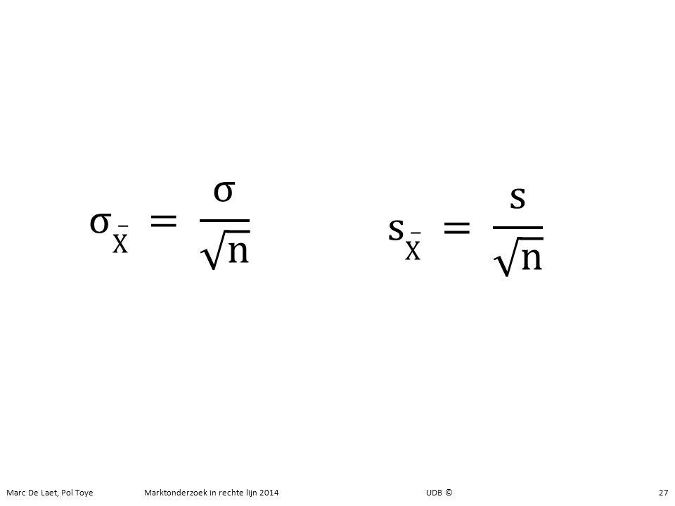 Steekproeven Standaardfout 27 Marc De Laet, Pol Toye Marktonderzoek in rechte lijn 2014 UDB ©