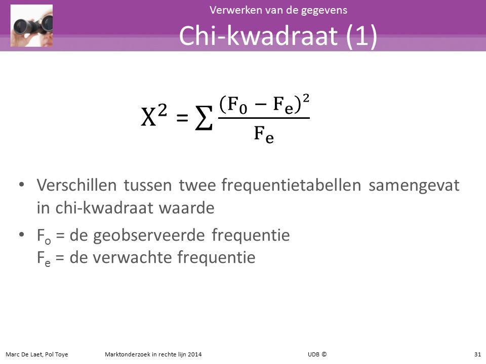 Verschillen tussen twee frequentietabellen samengevat in chi-kwadraat waarde F o = de geobserveerde frequentie F e = de verwachte frequentie 31 Verwer