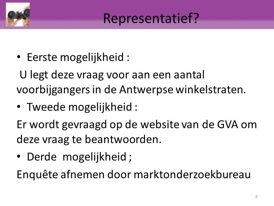 Representatief? Eerste mogelijkheid : U legt deze vraag voor aan een aantal voorbijgangers in de Antwerpse winkelstraten. Tweede mogelijkheid : Er wor