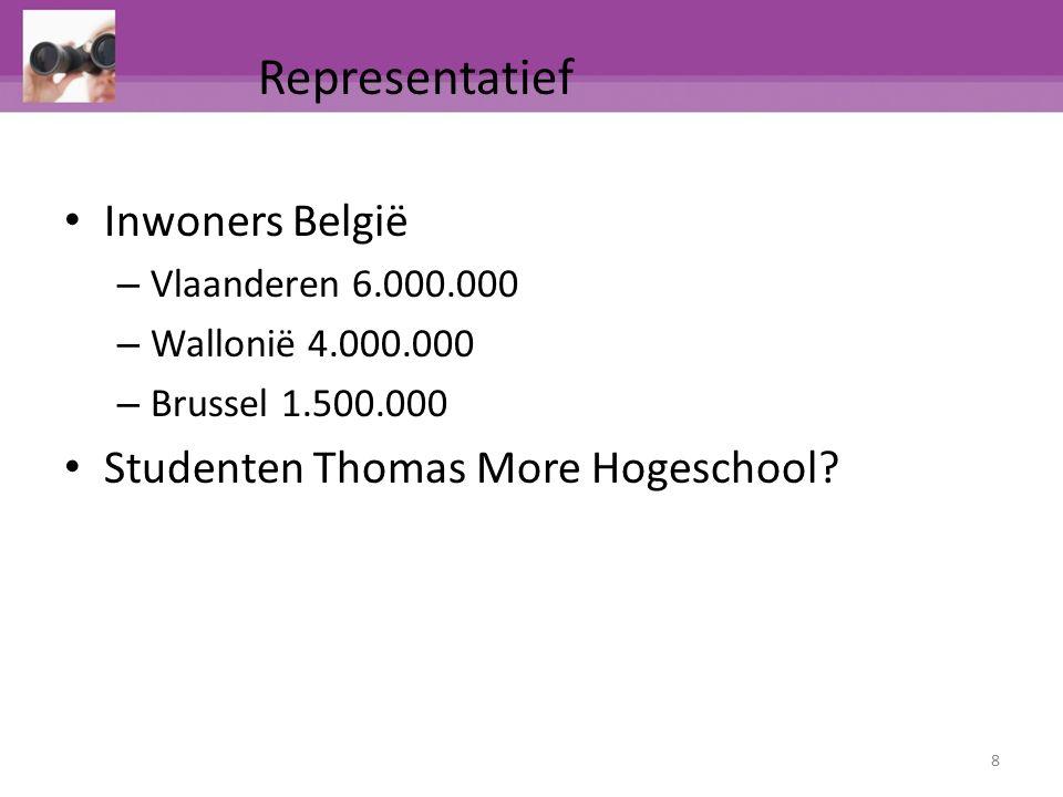 Inwoners België – Vlaanderen 6.000.000 – Wallonië 4.000.000 – Brussel 1.500.000 Studenten Thomas More Hogeschool? 8 Representatief