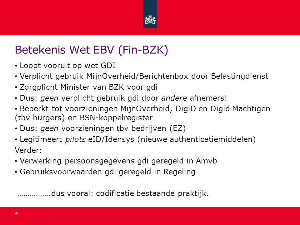 Betekenis Wet EBV (Fin-BZK) Loopt vooruit op wet GDI Verplicht gebruik MijnOverheid/Berichtenbox door Belastingdienst Zorgplicht Minister van BZK voor