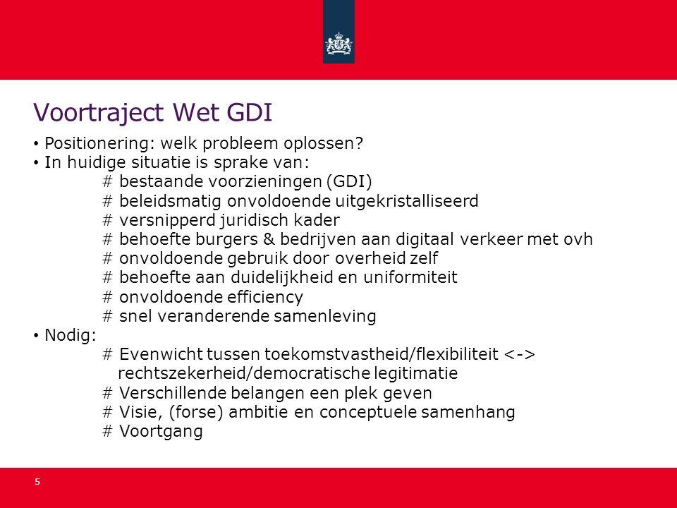 Voortraject Wet GDI Positionering: welk probleem oplossen? In huidige situatie is sprake van: # bestaande voorzieningen (GDI) # beleidsmatig onvoldoen